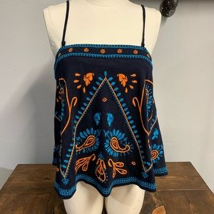 Free People embroidered navy and orange top .